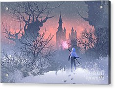 Knight With Trident In Winter Acrylic Print