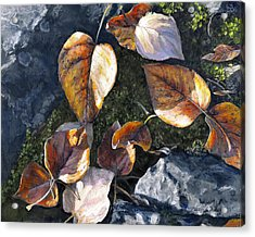 Acrylic Print featuring the painting Knik River Autumn Leaves by Karen Whitworth