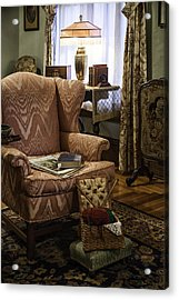 Knitting And Reading Materials Acrylic Print by Lynn Palmer