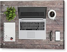 Knolling Work Table View With A Laptop Acrylic Print by ExperienceInteriors