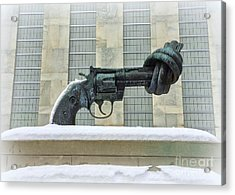 Knotted Gun Sculpture At The United Nations Acrylic Print