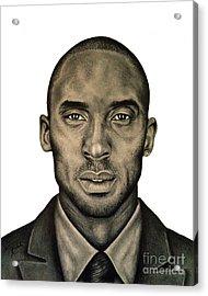 Kobe Bryant Black And White Print Acrylic Print by Rabab Ali