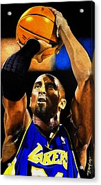 Kobe Bryant Drawing Acrylic Print by Dan Troyer