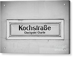 Kochstrasse Checkpoint Charlie Berlin U-bahn Underground Railway Station Name Germany Acrylic Print by Joe Fox
