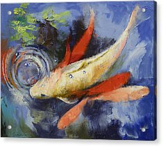 Koi And Water Ripples Acrylic Print by Michael Creese