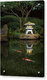 Koi By Lantern Light Acrylic Print by Lori Grimmett