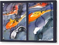 Koi Diptych Acrylic Print by Sumiyo Toribe