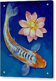 Koi Fish And Lotus Acrylic Print by Michael Creese