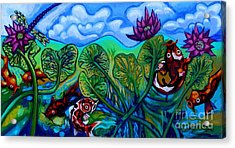 Koi Fish And Water Lilies With Dragonfly Acrylic Print by Genevieve Esson