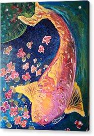 Koi Fish Acrylic Print by Michaela Kraemer