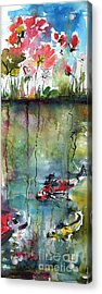 Koi Fish Pond Expressive Watercolor And Ink Acrylic Print