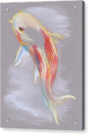 Acrylic Print featuring the pastel Koi Fish Swimming by MM Anderson