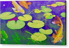Koi Fish Under The Lilly Pads  Acrylic Print