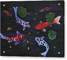 Koi Fishes Original Acrylic Painting Acrylic Print