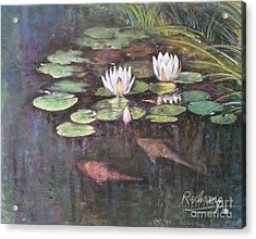 Acrylic Print featuring the painting Koi Pond by Rose Wang