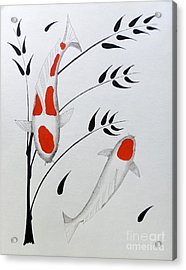 Koi Kohaku And Tancho With Bamboo Acrylic Print by Gordon Lavender