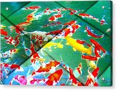 Acrylic Print featuring the digital art Koi Mosaic II by Manny Lorenzo
