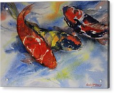 Koi Party Acrylic Print by Enola McClincey