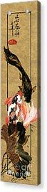 Koi With Lotus Acrylic Print