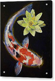Koi With Yellow Water Lily Acrylic Print