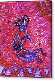 Kokopelli Dance Acrylic Print by Anne-Elizabeth Whiteway