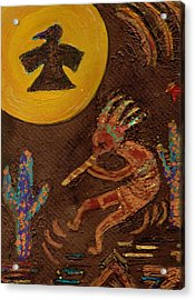 Kokopelli Dancing II Acrylic Print by Anne-Elizabeth Whiteway