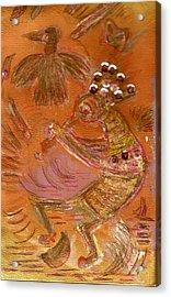 Kokopelli Dancing Up A Storm Acrylic Print by Anne-Elizabeth Whiteway