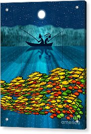 Kokopelli Fishing Acrylic Print