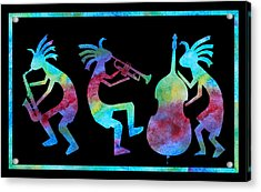 Kokopelli Jazz Trio Acrylic Print by Jenny Armitage