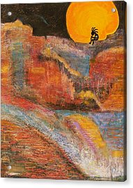 Kokopelli On A Marmalade Moon Night Revisited Acrylic Print by Anne-Elizabeth Whiteway