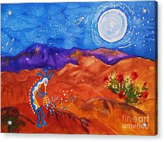 Kokopelli Playing To The Moon Acrylic Print