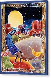Kokopelli Sings Up The Moon Acrylic Print by Harriet Peck Taylor