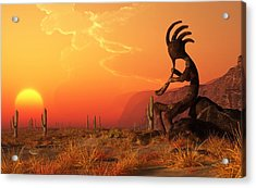 Kokopelli Sunset Acrylic Print by Daniel Eskridge