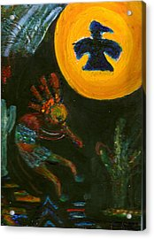 Kokopelli With Thunderbird In The Moon Acrylic Print by Anne-Elizabeth Whiteway