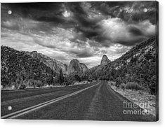 Kolob Canyon Black And White Acrylic Print