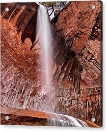 Kolob Canyons Waterfall Acrylic Print by Leland D Howard