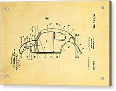 Komenda Vw Beetle Body Design Patent Art 1944 Acrylic Print by Ian Monk