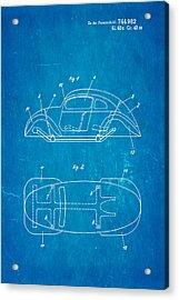 Komenda Vw Beetle Official German Design Patent Art Blueprint Acrylic Print by Ian Monk
