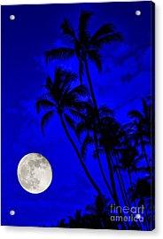 Kona Moon Rising Acrylic Print by David Lawson