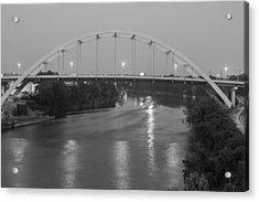 Acrylic Print featuring the photograph Korean Veterans Bridge At Night by Robert Hebert