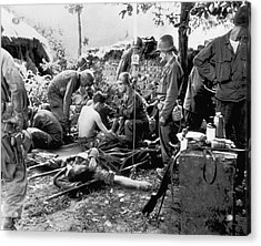 Korean War Wounded Acrylic Print by Underwood Archives