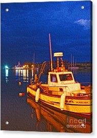 Kos Fisherman Boat Acrylic Print by Nur Roy