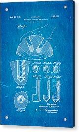 Kramer Bowling Bowl Finger Hole Insert Patent Art 1949 Blueprint Acrylic Print
