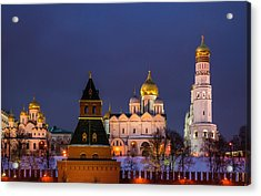 Kremlin Cathedrals At Night - Featured 3 Acrylic Print by Alexander Senin