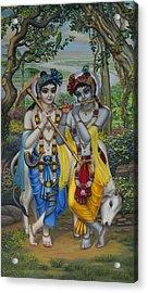 Krishna And Balaram Acrylic Print by Vrindavan Das