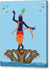 Krishna Dancing On Kaliya Acrylic Print