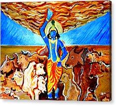 Krishna Lifting Govardhan Hill Acrylic Print