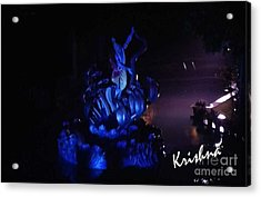 Krishna On Naga Acrylic Print by Ankit Garg