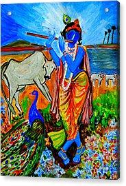 Krishna With Cow Acrylic Print