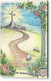 Krizevac - Cross Mountain Acrylic Print by Christina Verdgeline